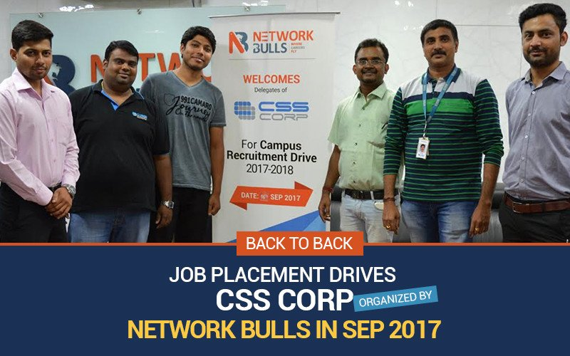 Back to Back Job Placement Drives of CSS Corp organized by Network Bulls in Sep 2017