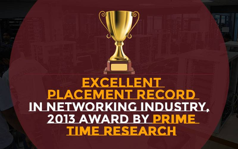 Excellent Placement Record in Networking Industry, 2013 Award by Prime Time Research