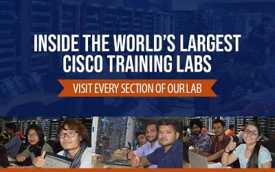 An inside view of the World's Largest Cisco Networking Training Labs at Network Bulls
